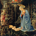Mary, the child adoring, with John the Baptist and St. Bernard, Fra Filippo Lippi