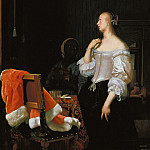 Frans van Mieris I – Young lady at the mirror, Part 2