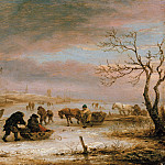 Isaac van Ostade – Winter landscape with frozen ships, Part 2
