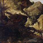 Gillis Claesz. de Hondecoeter – Mountain landscape with hunters, Part 2