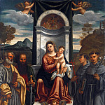 Part 2 - Francesco Vecellio (c.1475-1560) - Enthroned Madonna and Child with SS. Peter, Paul, Francis and Anthony of Padua