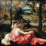 Part 2 - Giovanni Cariani (1485-90-1547) - Portrait of a young woman in a countryside