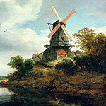 Windmill on the banks of a river, Jacob Van Ruisdael