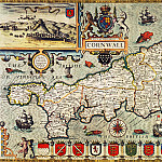 John Speed – Map of Cornwall, 1627, Antique world maps HQ