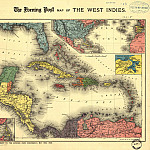 Caribbean Area, 1898, Antique world maps HQ