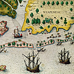 Theodore de Bry – The Arrival Of The English In Virginia, Antique world maps HQ