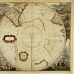 Hendrik Hondius – Map of South Pole, 1636, Antique world maps HQ