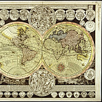 Adam Friedrich Zuerner – Planisphere, 1700, Antique world maps HQ