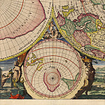 Cornelis Mortier - North and South Pole, 1720, Antique world maps HQ