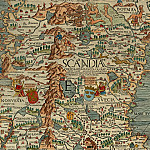 Antique world maps HQ - Olaus Magnus - Carta Marina, 1539, Section E: Norway and Sweden