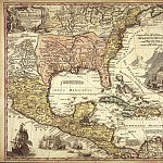 Spanish colonies, 1724, Antique world maps HQ