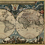 Jan Willemsz. Blaeu - Map of the World, 1664, Antique world maps HQ