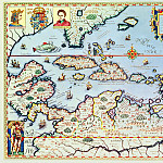Theodore de Bry - Map of the Caribbean islands and the American state of Florida, Antique world maps HQ