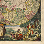 Antique world maps HQ - Cornelis Mortier - North and South Pole, 1720