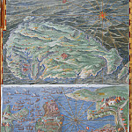 Raffaello Sanzio da Urbino) Raphael (Raffaello Santi - Map of the Island of Malta and the Siege of Valletta by the Ottoman Fleet (1565)