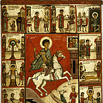 Новгородская школа. Чудо Георгия о змие с житием, Orthodox Icons