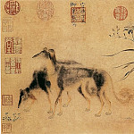 Chinese artists of the Middle Ages - Zhu Zhanji [朱瞻基 - 双犬图]