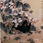 Chinese artists of the Middle Ages - Hua Zao [华蚤 - 海棠禽兔图]
