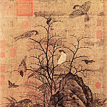 Chinese artists of the Middle Ages - Huang Jusong [黄居宋 - 山鹧棘雀图]