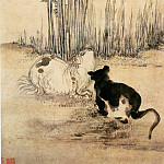 Chinese artists of the Middle Ages - Huang Shen [黄慎 - 双猫图]