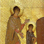 Perm iconostasis. Marian feast days. Presentation of the Virgin in the Temple. Saint Anne and the girl Maria, Roerich N.K. (Part 1)