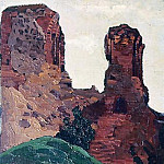 Vilnius. The ruins of the castle of Duke Gediminas Vilna. Residues Gedimin lock , Roerich N.K. (Part 1)