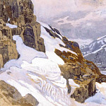 Mountain landscape. Alpes, Roerich N.K. (Part 1)