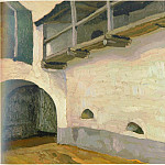 Roerich N.K. (Part 1) - Pechora. Entrance to the monastery and the wall with the transition (Pechora. Gate. Interior view)