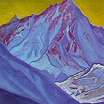 Himalayas. Mountains in the background yellow sky, Roerich N.K. (Part 1)