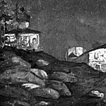 View with the church on the outskirts of the city, Roerich N.K. (Part 1)