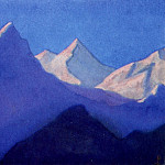 Himalayas # 125 Reflections of the evening dawn on snowy peaks, Roerich N.K. (Part 6)
