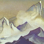 The Himalayas # 57 The gloomy cliffs in the clouds, Roerich N.K. (Part 6)