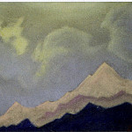 Himalayas # 31 Clouds over the peak. Lahul. Evening, Roerich N.K. (Part 6)