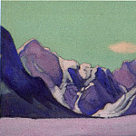 Roerich N.K. (Part 6) - Himalayas # 159 Mountain ridge against the background of the green sky