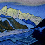 Himalayas # 53 glacier on the background of a mountain range, Roerich N.K. (Part 6)