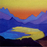 Himalayas # 26 Mountain lake at sunset, Roerich N.K. (Part 6)