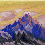 Himalayas # 22 Mountains of the mountains against the yellow sky, Roerich N.K. (Part 6)