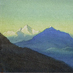 Morning. Himalaya # 34 Blue spurs against the background of snowy mountains