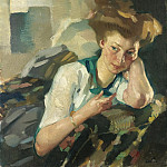 Картины с аукционов Sotheby's - Leo Putz - Portrait of a Young Woman