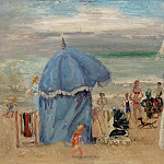 Картины с аукционов Sotheby's - Andre Hambourg - The Beach at Trouville, 1951