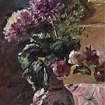 Sotheby's - Lovis Corinth - Chrysanthemums and Roses in a Pitcher, 1917