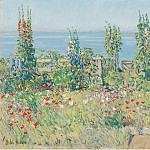 Sotheby's - Frederick Childe Hassam - Hollyhocks, Isle of Shoals, 1902