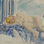 Young Woman on Blue Sofa, 1920, Анри Лебаск