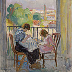 Madame Lebasque and Her Daughter Sewing near the Window, 1911, Анри Лебаск