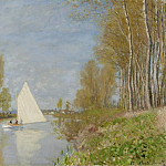 Картины с аукционов Sotheby's - Claude Monet - Small Boat on the Small Branch of the Seine at Argenteuil, 1872