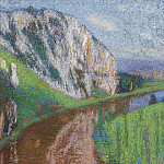 Картины с аукционов Sotheby's - Henri Martin - The River of Lot and the Cliffs of Saint- Cirq-Lapopie, 1930s