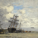 Sotheby's - Eugene Boudin - Portrieux, Vessels on the Sand, 1873