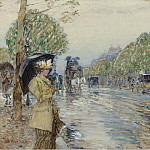 Rainy Day on the Avenue, 1893, Childe Frederick Hassam