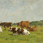 Картины с аукционов Sotheby's - Eugene Boudin - Cows at the Pasture, 1880-85 01