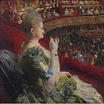 Sotheby's - Theo van Rysselberghe - Madame Edmond Picard in the Box of Theatre de la Monnaie, 1887